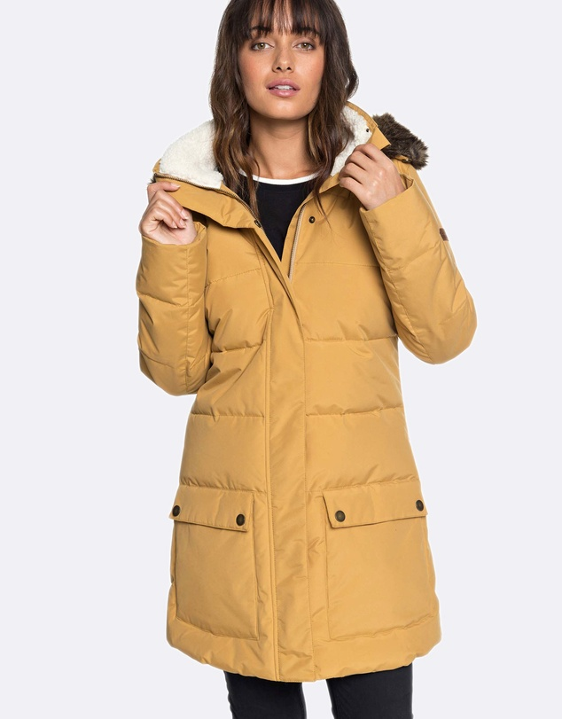 Roxy - Womens Ellie Water Repellent Hooded Longline Puffer Jacket
