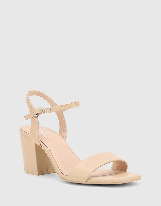 Women Collin Leather Block Heel Ankle Strap Sandals