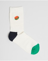 Happy Socks - Burger Embroidery Socks - Kids-Teens