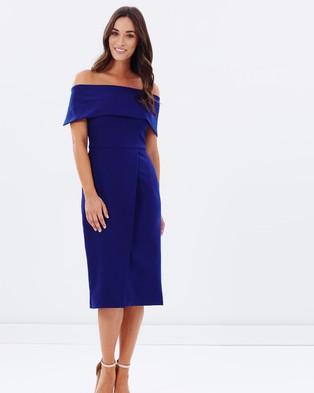 Oasis – Bardot Pencil Dress – Dresses (Blue)