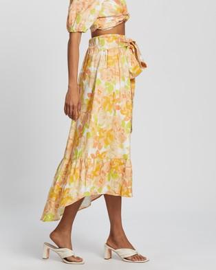AERE Frill Hem Linen Skirt - Skirts (Floral)
