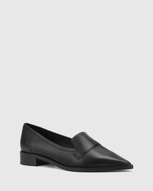 Wittner Miguel Leather Pointed Toe Loafers Flats Black