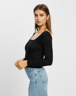 Cotton On - Serena Square Neck Long Sleeve Top Cropped tops (Black)