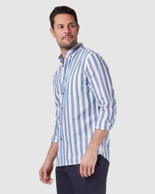 Blazer Daniel Long Sleeve Stripe Shirt - Shirts & Polos (Navy/White)