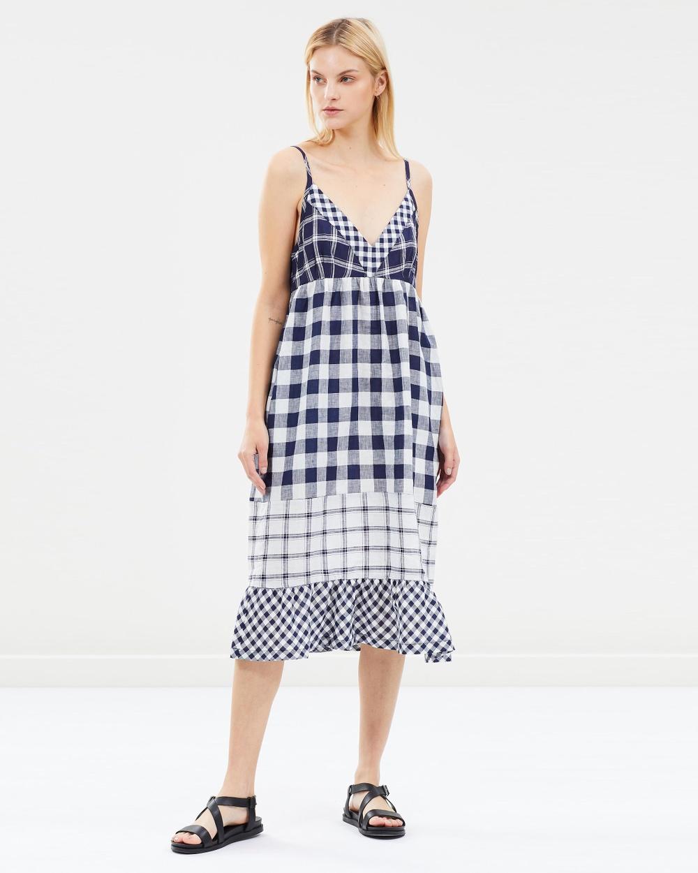 Lee Mathews Midnight Nellie Checked Linen Tunic Dress