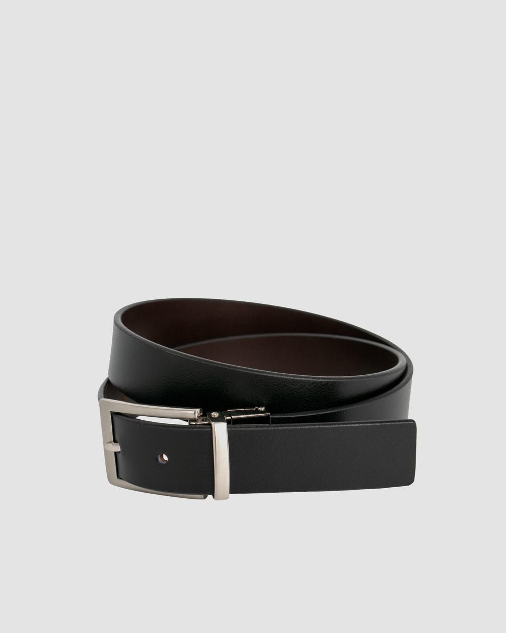 Loop Leather Co Sandwich Guy Reversible Belts Black & Choc