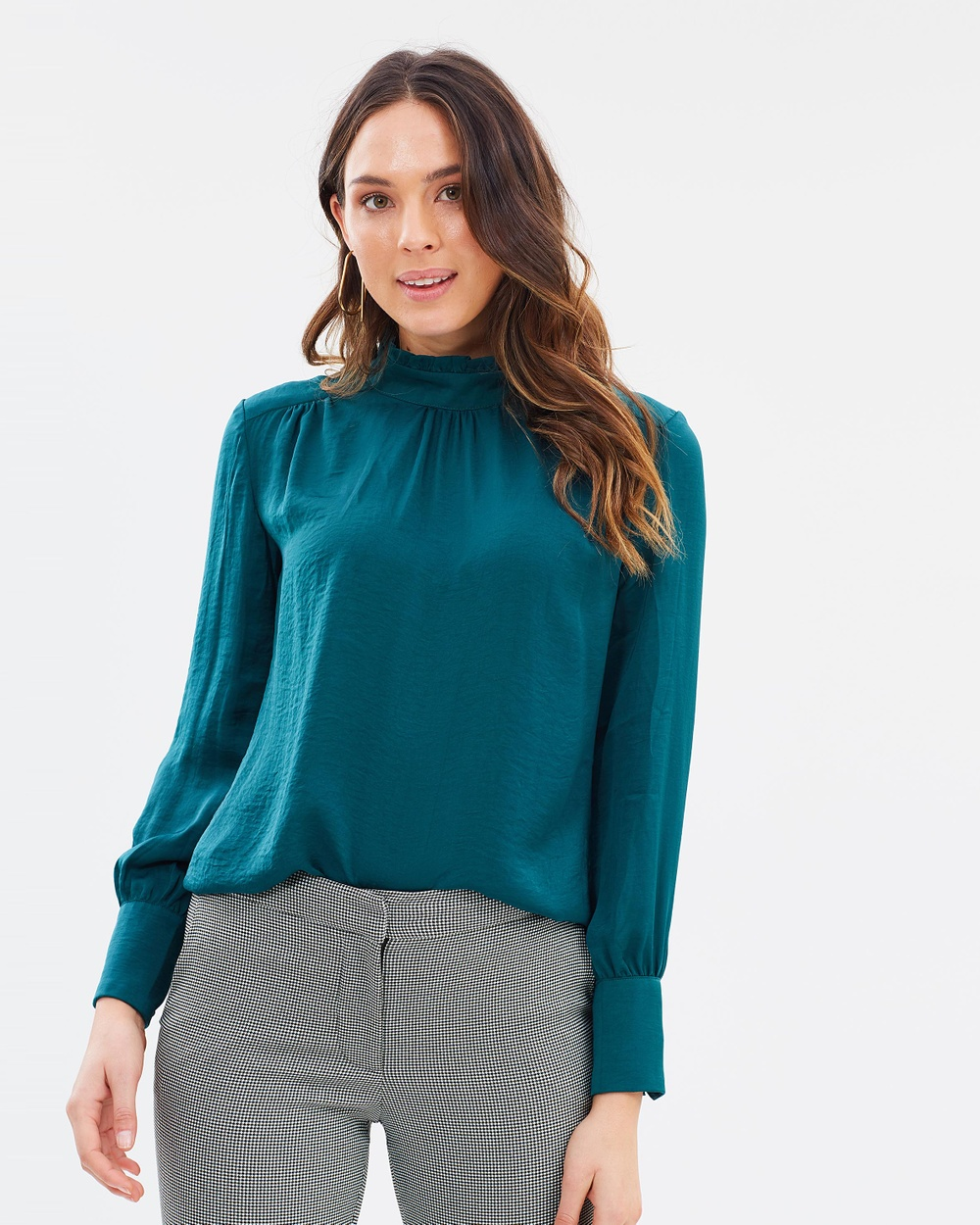 Forcast Lilia High Neck Blouse Tops Emerald Lilia High Neck Blouse