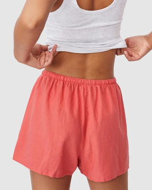 Cotton On Cali Pull On Shorts - High-Waisted (Summer Coral)