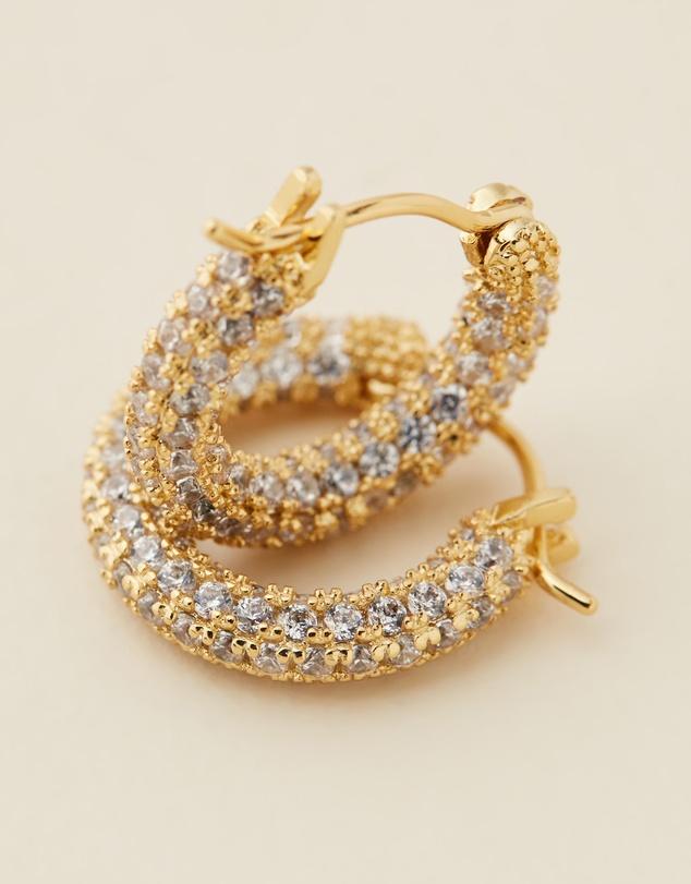 Women Gold Pave Amalfi Huggie Hoop Earrings