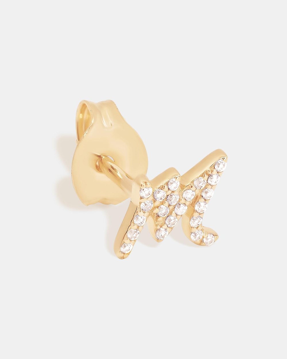 By Charlotte 14K Gold Diamond Love Letter M Single Earring Jewellery Gold M