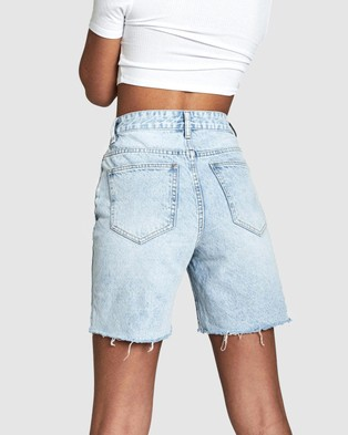 Cotton On High Straight Denim Bermuda Shorts - Denim (Burleigh Blue)