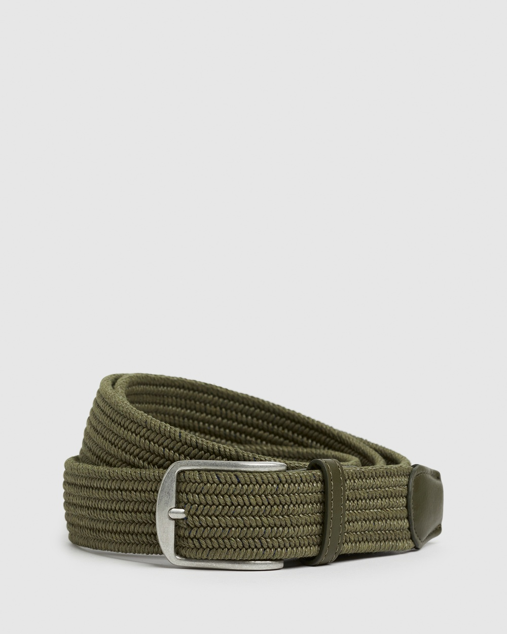 French Connection Woven Stretch Belt Belts MOSS