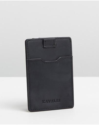 Kavalri Minimalist Leather Card Holder Black