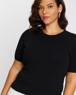 Atmos&Here Curvy Jacy Knitted Top - Tops (Black)