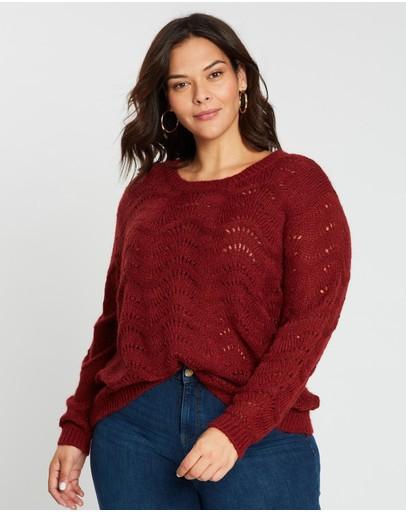 Only Carmakoma Carmia Long Sleeve Pullover Knit Merlot