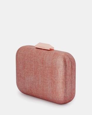 Olga Berg Hailey Subtle Metallic Woven Clutch - Handbags (Rose)