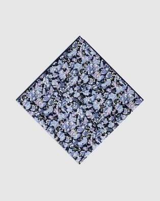 Buckle Flora Pocket Square - Pocket Squares (Navy/Purple)