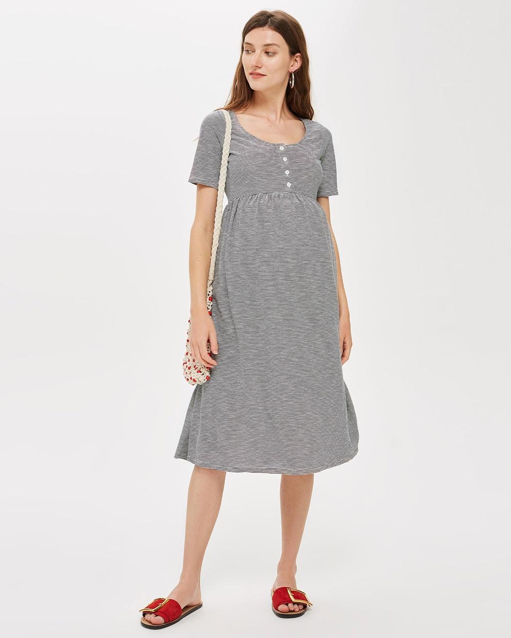 TOPSHOP Maternity Striped Smock Dress Printed Dresses Navy Blue Striped Smock Dress