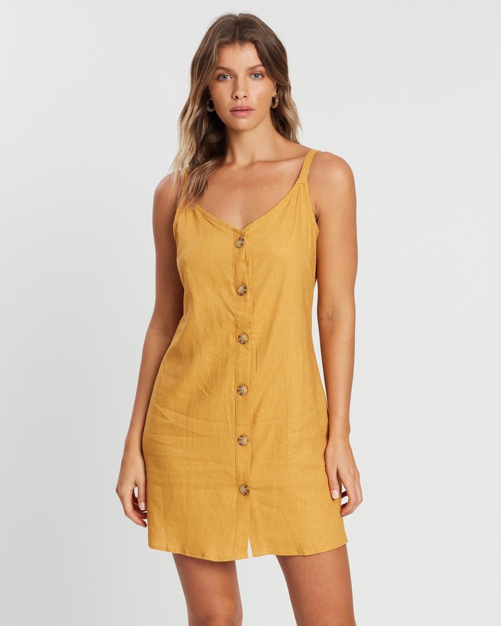 Cotton On Spruce Yellow Woven Margot Slip Dress