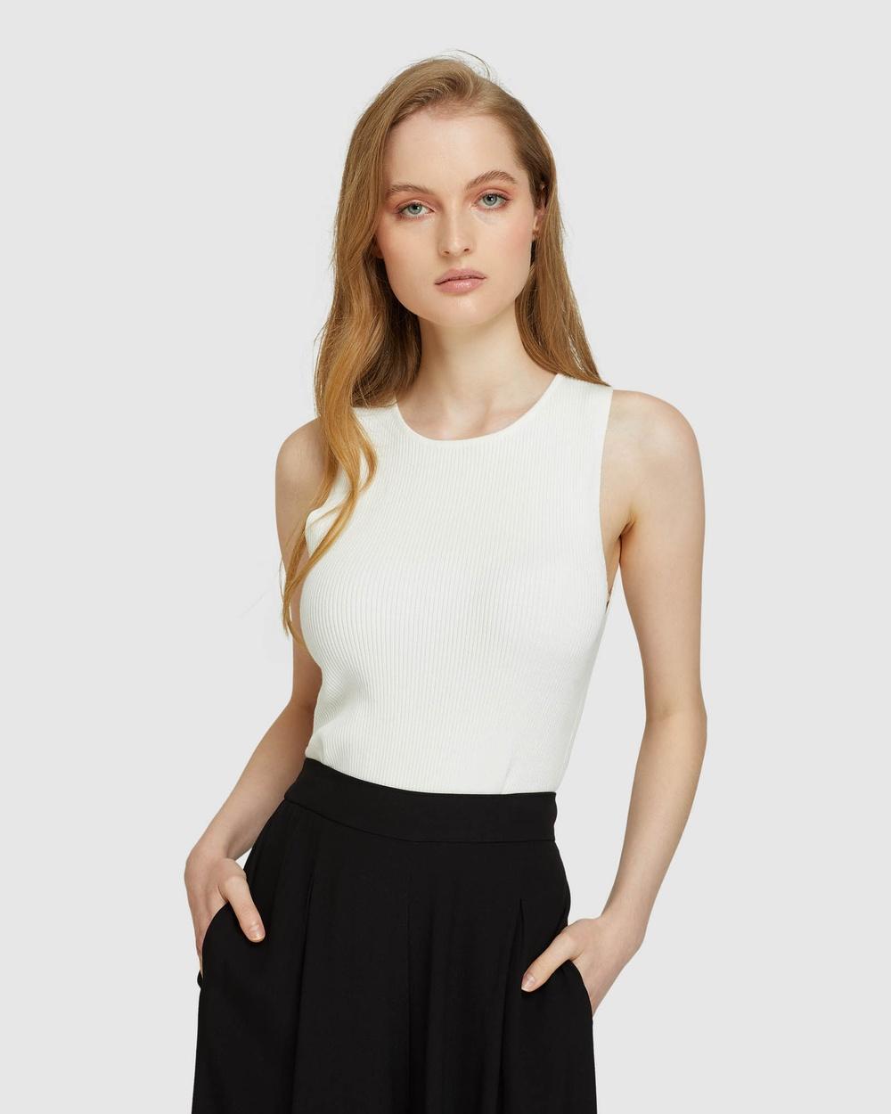 Oxford Rocky Crop Rib Singlet T-Shirts & Singlets White