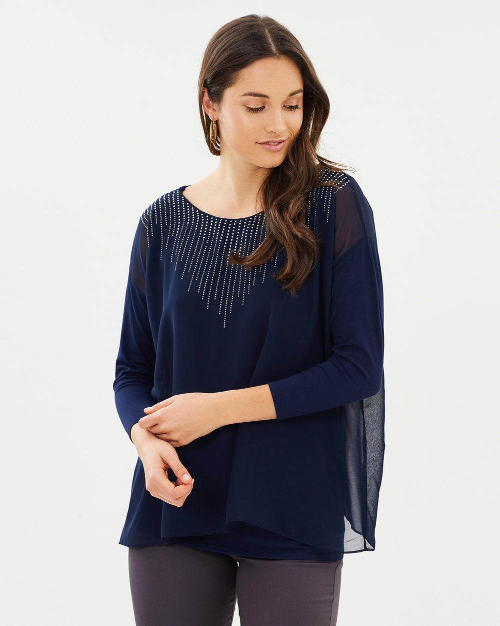 Wallis Embellished Layered Top Tops Navy Blue Embellished Layered Top