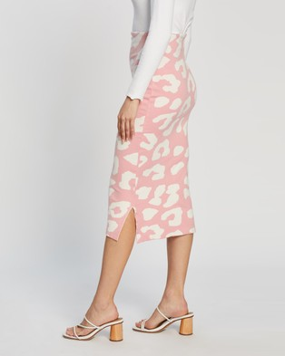Atmos&Here Bowie Knit Animal Skirt - Pencil skirts (Pink Animal)
