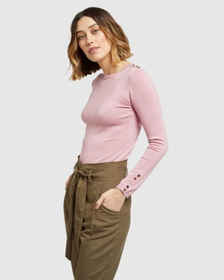 Oxford Emma Button Knit - Tops (Pink)