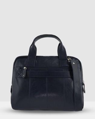 Cobb & Co Turner Leather Laptop Satchel - Satchels (Navy)