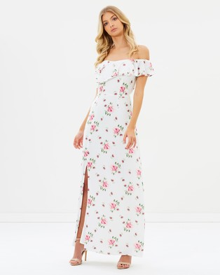 Atmos & Here – Akira Off Shoulder Maxi Dress Summer Roses