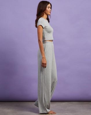 Missguided Cap Sleeve Crop Top Wide Leg Pyjama Set - Two-piece sets (Dark Grey)