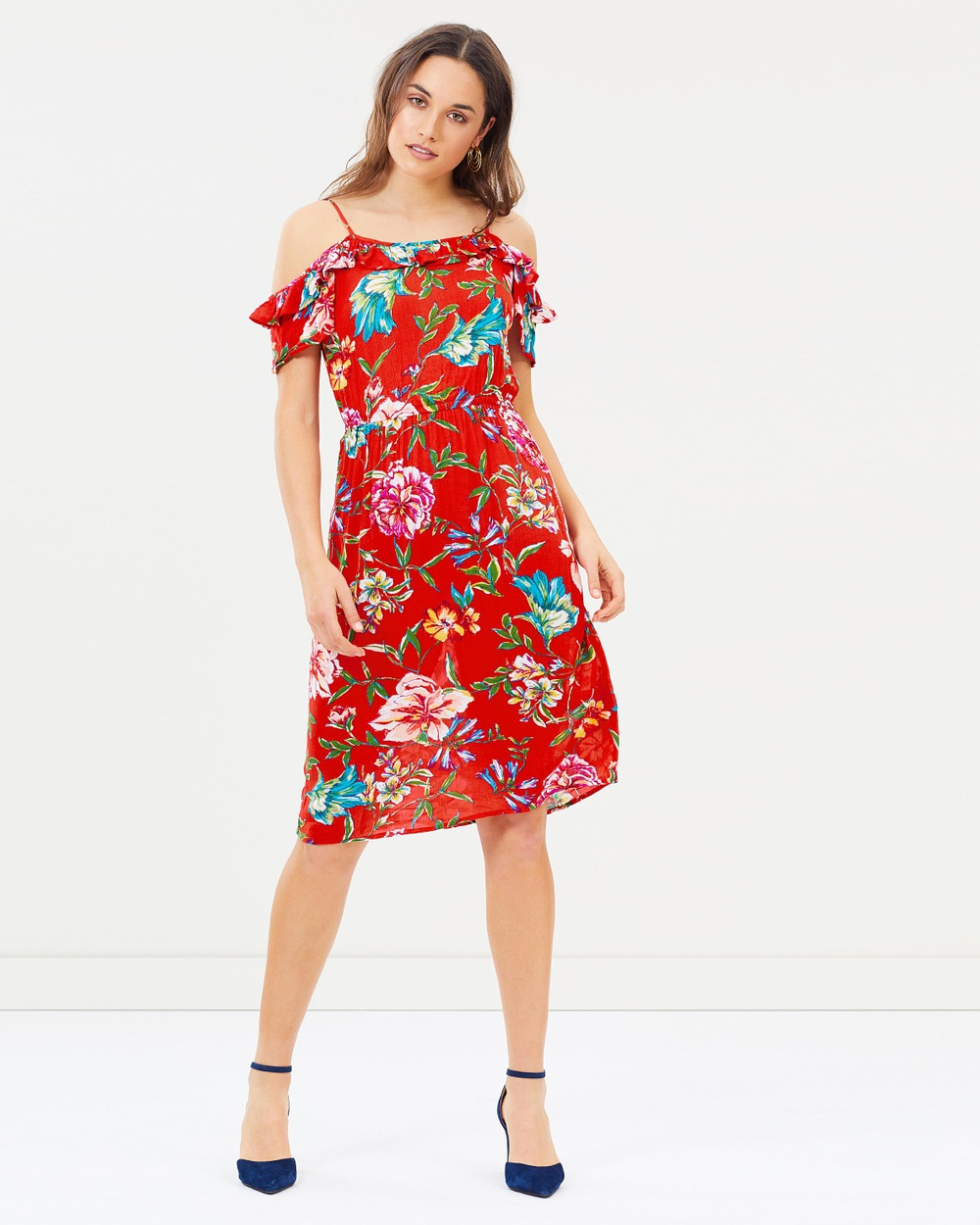 Dorothy Perkins Floral Cap Sleeve Frill Midi Dress Printed Dresses Red Floral Cap Sleeve Frill Midi Dress