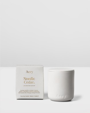 Aery Living - Fernweh Matte Ceramic Candle with Lid Nordic Cedar Candles (White)