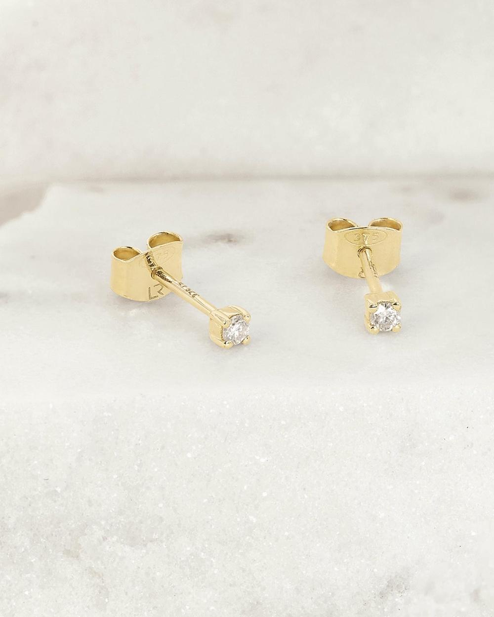 Luna Rae Solid Gold Halley Diamond Studs Jewellery Gold