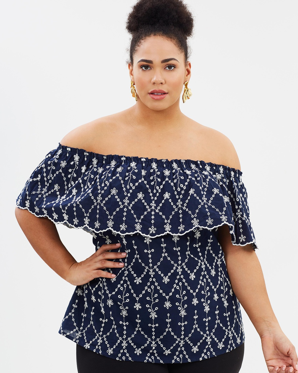 Photo of EVANS EVANS Navy Blue Cutwork Top Tops Navy Navy Blue Cutwork Top - For form-flattering fashion that celebrates your curves, look no further than EVANS. The Navy Blue Cutwork Top exudes femininity with an off-the-shoulder flounce and intricate broderie anglaise detailing throughout. Pair with denim and leather slides for effortless weekend cool. Our model is wearing a size AU 18 top. She is 179.1cm (5'10.5