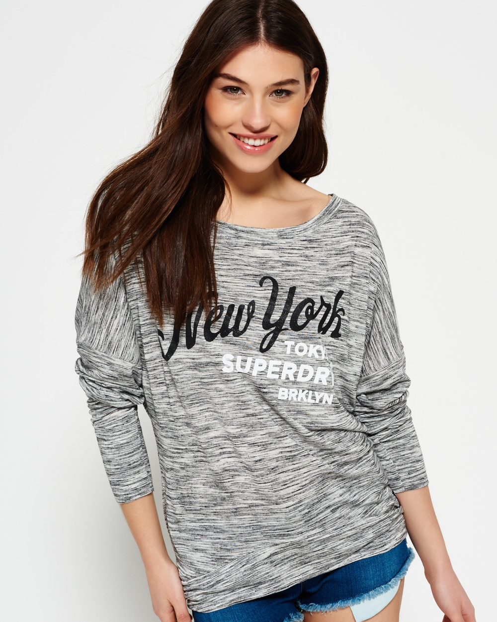 Superdry Maiden Slouch Top Tops State Charcoal Maiden Slouch Top