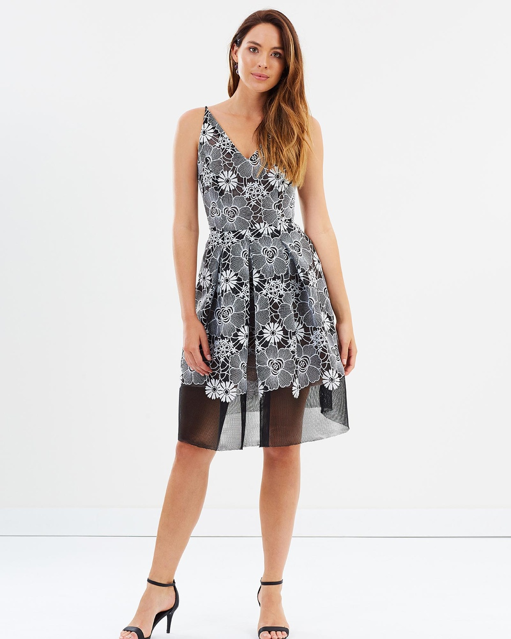 Montique Adele Mesh Embroided Dress Dresses Black Adele Mesh Embroided Dress