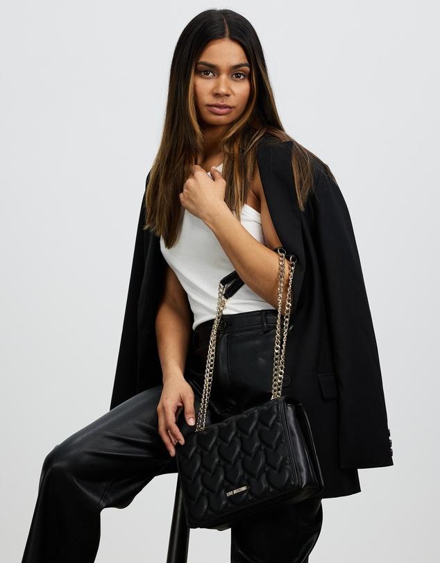 Women Heart-Quilted PU Shoulder Bag