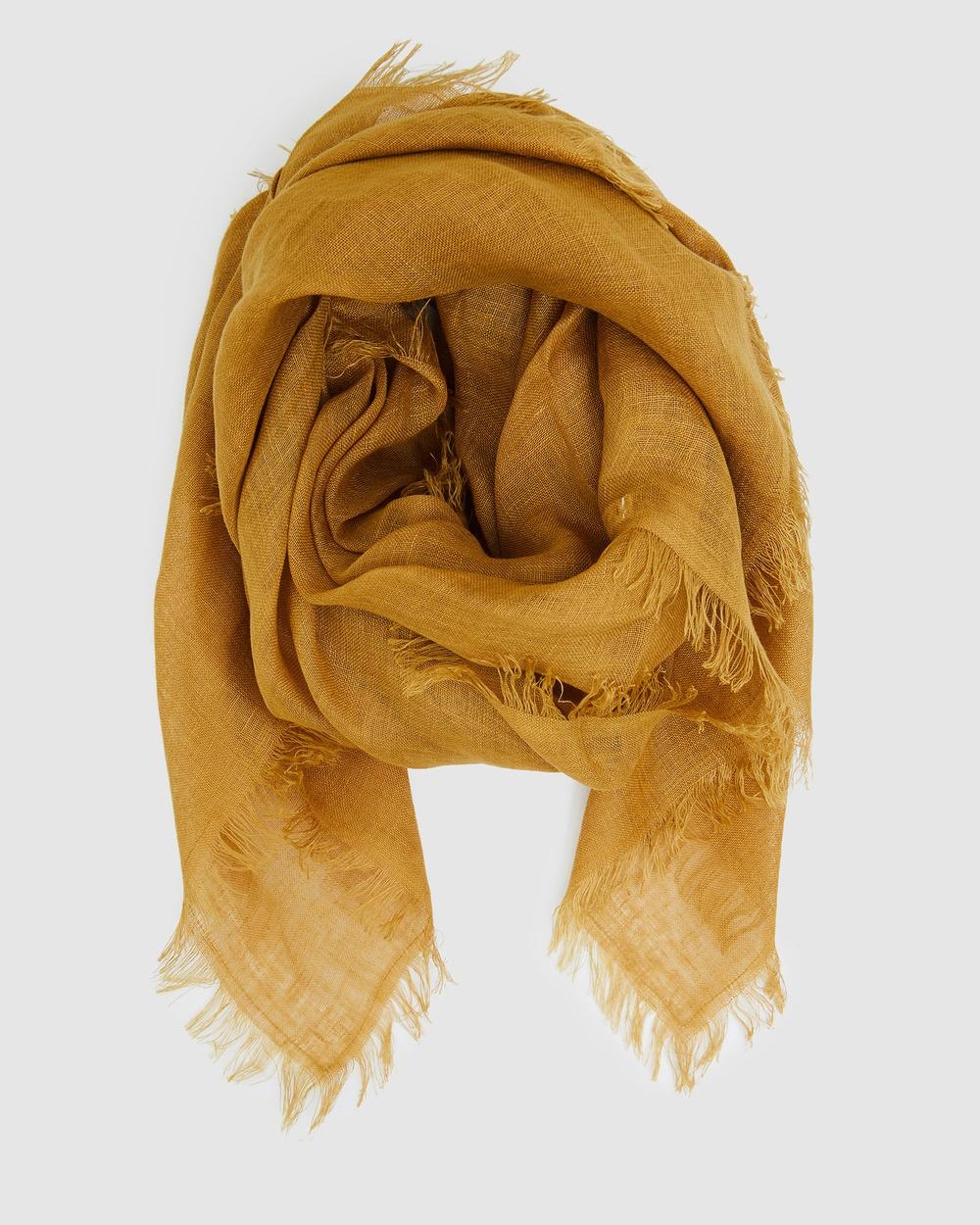 Cloth & Co. Hand Loomed Linen Scarf Scarves Gloves Turmeric
