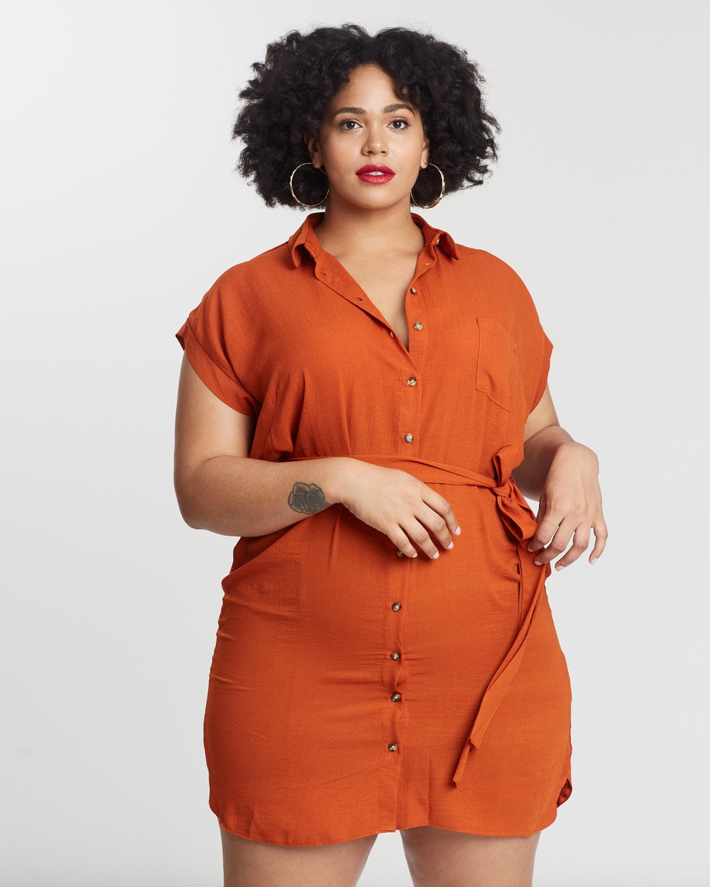 DP Curve Orange Short Sleeve Shirt Dress