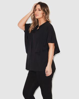 17 Sundays Flutter Sleeve Blouse - Tops (Black)