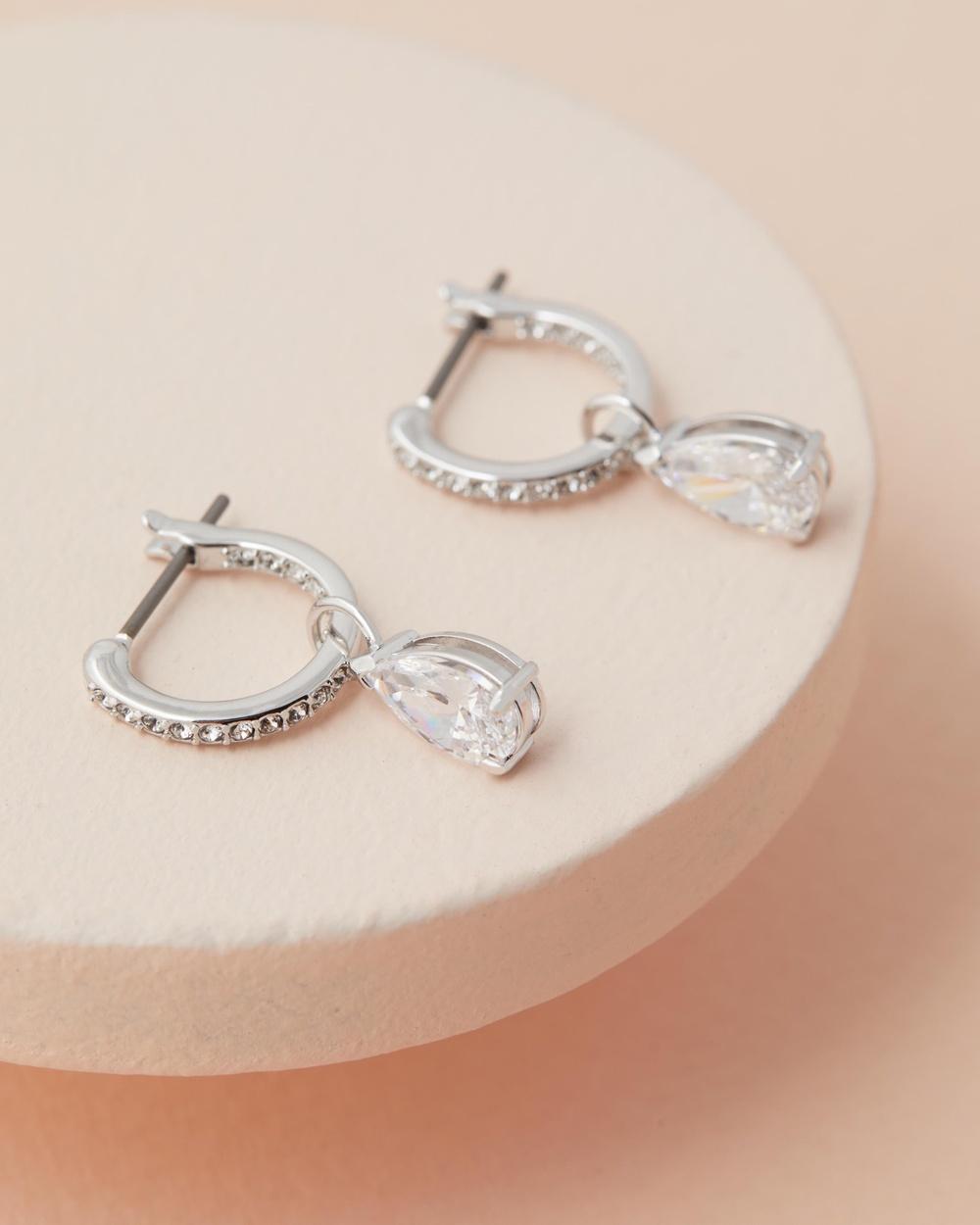 Swarovski Attract Mini Pear Hoop Earrings Jewellery CZ White & Rhodium Plating