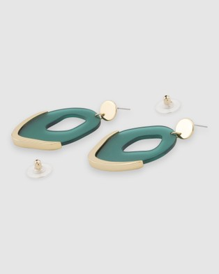 Peter Lang Eden Earrings - Jewellery (Green & Gold)
