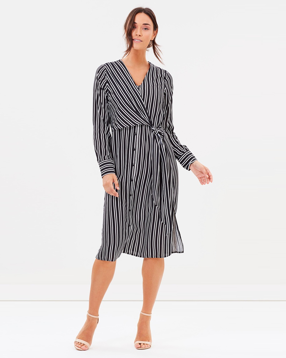 Dorothy Perkins Stripe Knot Shirt Dress Dresses Black Stripe Knot Shirt Dress