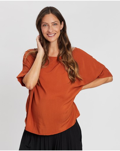 Angel Maternity Relax Fit Short Sleeve Top Orange