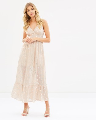 Sass – Feather Foil Maxi – Printed Dresses Pink Fancy Feather