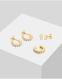 Elli Jewelry - Earring Set Creoles Earcuff with Pearls from Swarovski® crystals in 925 Sterling Silver Gold Plated