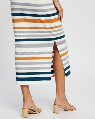 Angel Maternity Full Length Bamboo Fitted Skirt Skirts White, Orange & Blue Stripe