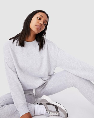 Cotton On Body Active Lifestyle Long Sleeve Crew Top - Sweats (Grey Marle)