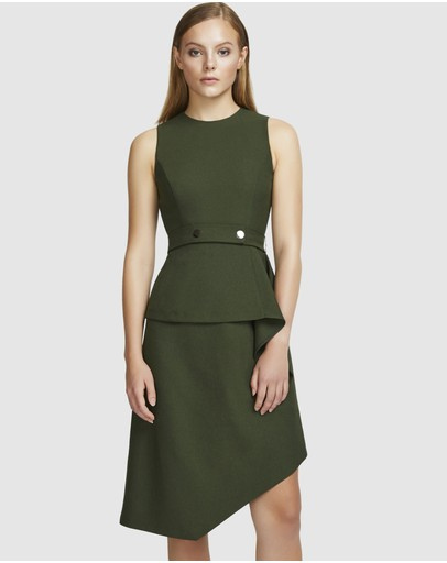 Aris Layered Snap Belt Dress Moss