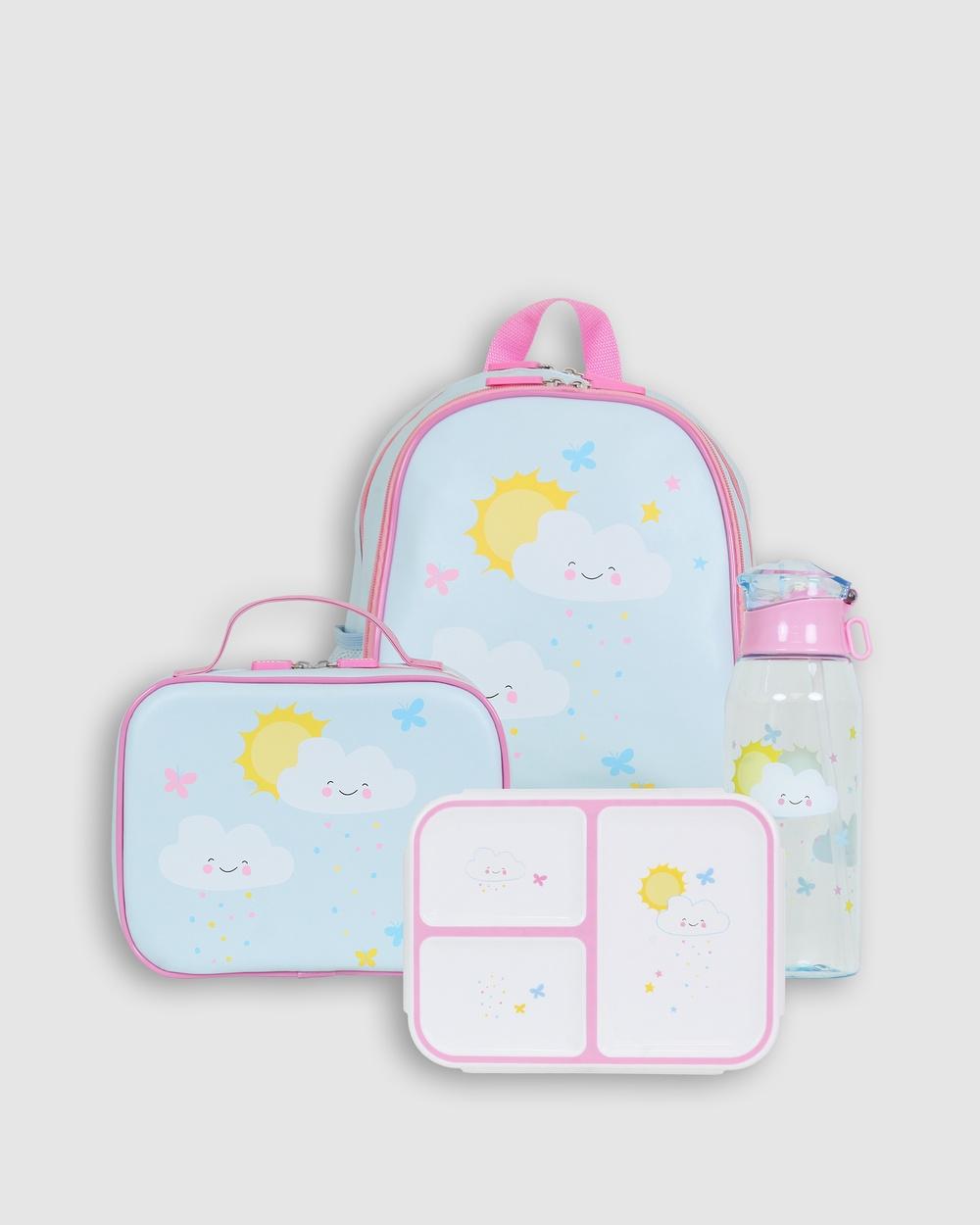 Bobbleart Large Backpack Lunch Bag Bento Box and Drink Bottle Happy Clouds Backpacks Light Blue